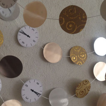 33 ft New year Garland-New Year eve party decor-Party decoration-New years clock garland