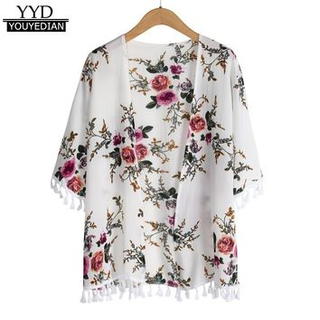 Tops 2018 New Arrival Women Open Front Summer Ladies Beach Kimono Cardigans Short Sleeve Floral Print Tassel Tops Blouses *1208