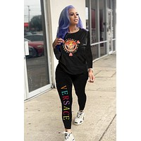 Versace New fashion multicolor letter human head couple long sleeve top and pants two piece suit