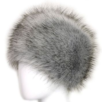 DCCKJG2 Russian Lady Women Faux Fox Fur Cossack Style Winter Warm Earflap Hat Beanie Cap -Y107
