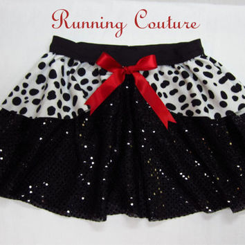 READY TO SHIP Small Cruella Deville  101 Dalmatians Inspired Sparkle Running Misses Round skirt