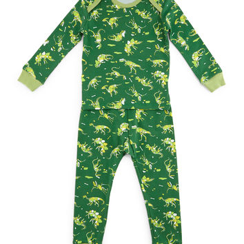 Neon Dinosaurs Pajama Shirt & Pants, Green, Size 3-24 Months, Size: