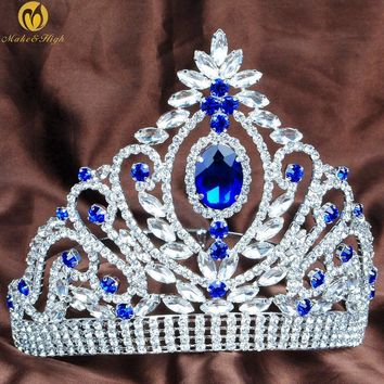 Blue Wedding Bridal Tiara Austrian Rhinestone Crystal Brides Headpiece Beauty Pageant Crown Prom Party Costumes Hairwear
