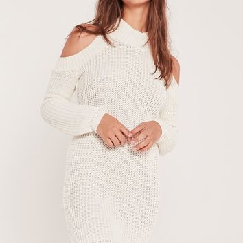 Missguided - Cold Shoulder Chunky Stitch Mini Dress White