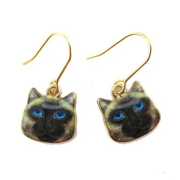 Small Siamese Kitty Cat Face Shaped Dangle Earrings | Animal Jewelry
