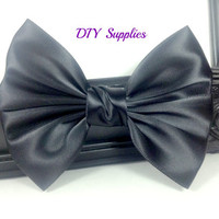 Black satin bow, handmade bows, wholesale bows, flower supply, diy hair bow supply, hair clip bow, headband supply