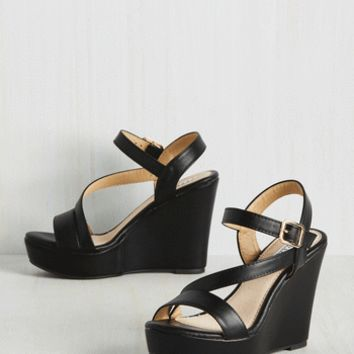 Reminisced Opportunity Wedge in Black | Mod Retro Vintage Heels | ModCloth.com