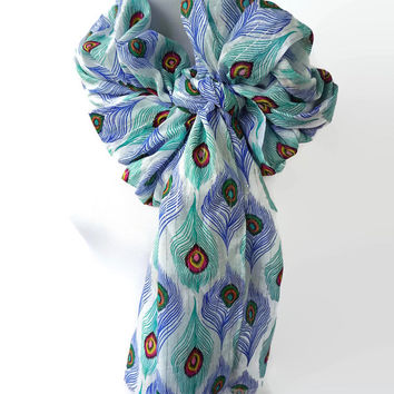 Peacock Feather Scarf, Peacock Scarf Blue, Fashionable Scarf Blue Scarf, Scarf Bird, Shawl Scarves, Handmade Scarf, Tie Scarf, Regular Scarf
