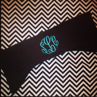 Ladies monogrammed fleece headband. Personalized headband ear warmer.