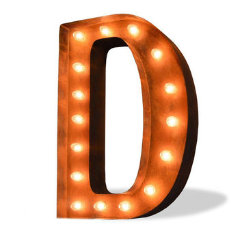 "12"" Letter D Lighted Vintage Marquee Letters (Modern Font/Rustic)"