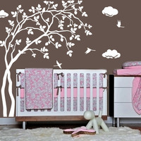 Wall Decal Vinyl Sticker Decals Art Decor Design Tree Branch Birds Clouds Foliage Mother and Babe Nursery Kids Children Family Bedroom(r392)