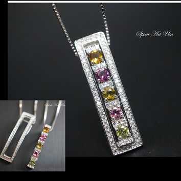 Tourmaline Necklace, Couple Tourmaline Double Pendant Necklace, Sterling Silver