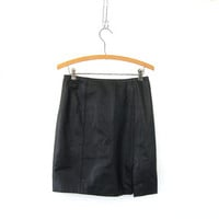 Vintage Leather Mini Skirt. Black Leather Skirt. size 6