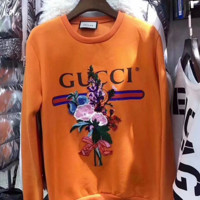 '' Gucci '' Fashion Embroidery Flowers Casual Long Sleeve Sweater Pullover Sweatshirt