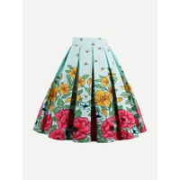 Multicolor Floral Print Knee Length Pleated Skirt