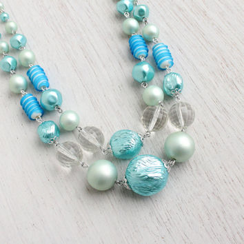 Vintage Blue Beaded Necklace - 1950s 1960s Layered Lucite Costume Jewelry / Aqua Blue Beads