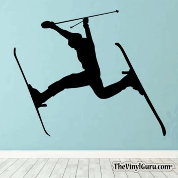 Skiing Wall Decal - Ski Sticker #00004