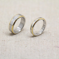 2pcs-Free Engraving, Yellow rings,Wedding Bands Couple Rings, Lovers rings