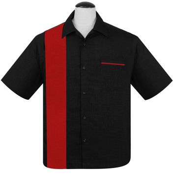 Steady Pop Check Single Panel Button Up in Black Red Bowling Shirt Retro