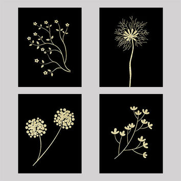 Set of 4 Gold on Black Flower Prints CUSTOM COLORS Modern Art Prints for Nursery or Home Decor Custom Colors Modern prints  8x10