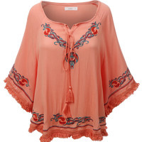 LE3NO Womens Flowy Flared 3/4 Sleeve Bohemian Tunic Top (CLEARANCE)