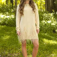 My Best Fringe Sweater Tunic-Latte