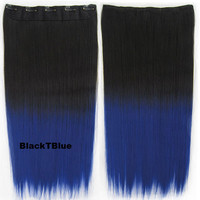"Dip dye hairpieces New Fashion 24"" Women Clip in on gradient wig Bath & Beauty Hair Ombre Hair Extensions Two Tone Straight hair Gradient Hair Extension Colorful Hairpieces GS-666 Black T Blue,1PCS"