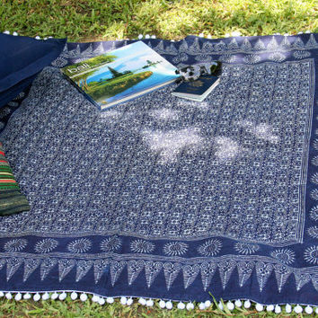 Natural Indigo Batik Boho Throw Blanket, Picnic Blanket, Sofa Throw  Bohemian Decor Free Worldwide Shipping