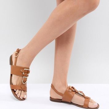 ALDO Two Part Flat Sandal with Metal Detail at asos.com