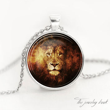 LION PENDANT Lion necklace Lion jewelry animal pendant Lion jewelry Necklace for men gift for him Glass pendant