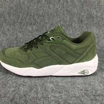 DCCKIJ2 Puma R698 AIIover Suede Running Sport Casual Shoes Sneaker Green