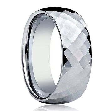 Aydins Tungsten Wedding Ring Shiny Polished Faceted Center Domed 6mm, 8mm Tungsten Carbide Mens & Womens Band