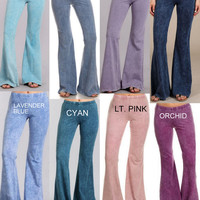 Chatoyant Mineral Wash Bell Bottom Soft Pants - 8 Colors Pinks, Blues