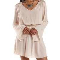 Natural Lace-Trim Bell Sleeve Dress by Charlotte Russe