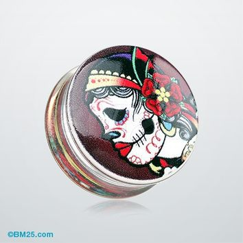 A Pair of Day of the Dead Gypsy Sugar Skull Clear UV Double Flared Ear Gauge Plug