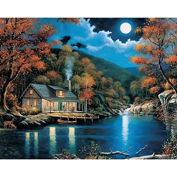 Frameless Fantasy Rural Landscape Diy Painting By Numbers Kits Home Decor Wall Art Drawing Paint By Numbers 40x50cm Artwork