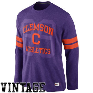 Nike Clemson Tigers Vault Long Sleeve Thermal T-Shirt - Purple