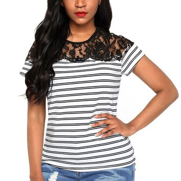2018 New Arrival Summer Women's Casual O-Neck Black White Striped Cap Sleeve Top with Lace Detail LGY250784