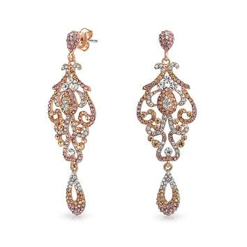 Pink Crystal Lace Chandelier Statement Earrings Rose Gold Plated