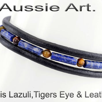 B-115 Finely Made Natural Lapiz Lazuli Tiger Eye Leather Wristband Men Bracelet