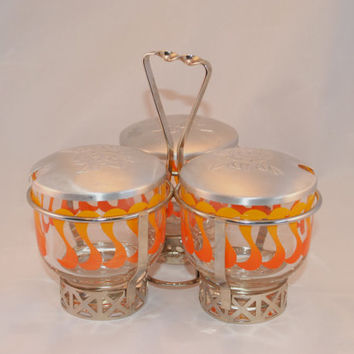 Condiment Caddy, Geometric Design, Metal and Glass Serving Set, Aluminum Flower Lids