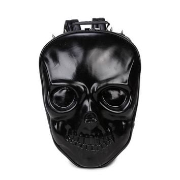 Backpack Rock Style Skull Leisure Soft PU Leather