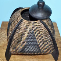 Handmade Rattan and Wood Basket