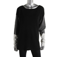 Hayden Womens Cashmere Colorblock Pullover Sweater