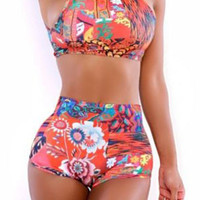 Floral High-Neck Tankini