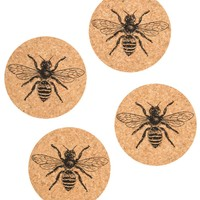 Bee Cork Coaster Set (Set of 4)