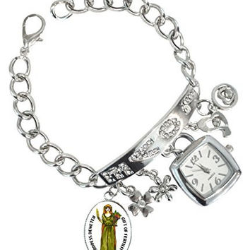 "Goddess Demeter for Fertility Rhinestone Love Charm Chain Bracelet Watch 6"" to 8"""