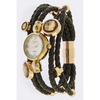 Copper & Braided Black Leather Layered Stone Accent Watch