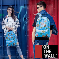 """Vans""Fashion Personality printing large capacity backpack bag leisure travel boom Blue pineapple print(7 style)"