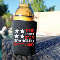 Beer Koozie Time To Get Star Spangled Hammered. Pool Party Insulated Beverage Holder. Pool Koozie. Summer Koozie. Red White Blue